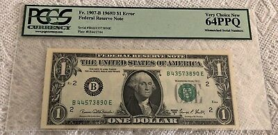 1969-D Mismatched Serial Numbers Graded Pcgs 64Ppq