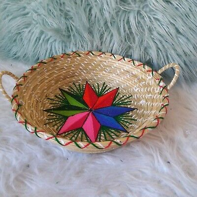 Vintage Rainbow Star Embroidered Woven Basket Bowl