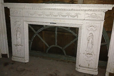 Antique Newport Rhode Island Fireplace Mantel w Figural Designs Hope & Charity