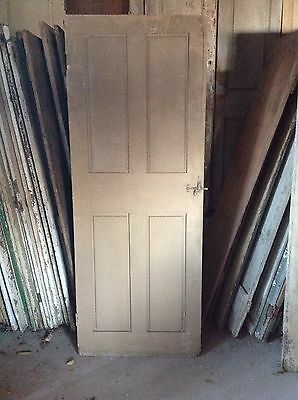 ANTIQUE DOOR NEW ENGLAND 18th CENTURY INTERIOR 4 PANEL ORIGINAL FINISH &HARDWARE