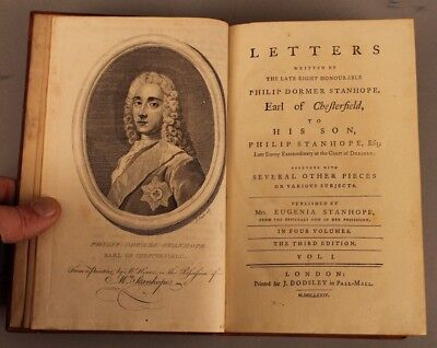 Letters Earl of Chesterfield Stanhope 1774 4 volumes Leather Bound Third Edition