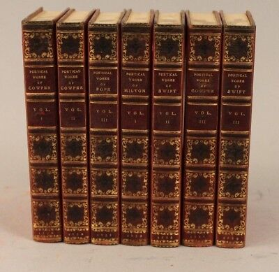 The Aldine Edition of The British Poets 7 vol. 1830-1839 Leather Bound