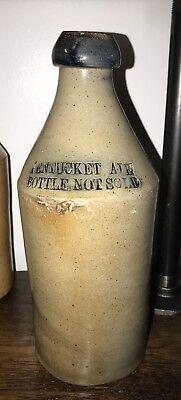 G S Cushing's Pentucket Ale Lowell Ma Stoneware Beer Bottle