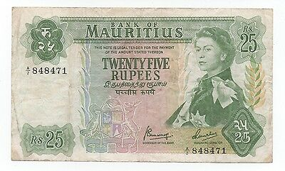 Mauritius 25 Rupees 1967 Pick 32 B Look Scans