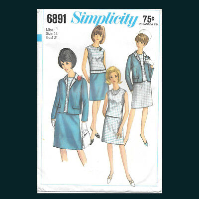 Vintage Simplicity Pattern 6891 Misses' Jacket, Blouse and Skirt Size 14