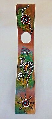 """Unique Aboriginal Curved Wood Wine Holder Stand Hand Dot Painted Australia 12"""""""