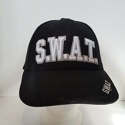 S.W.A.T. Hat Adjustable Strap Black with Silver Embroidered letters