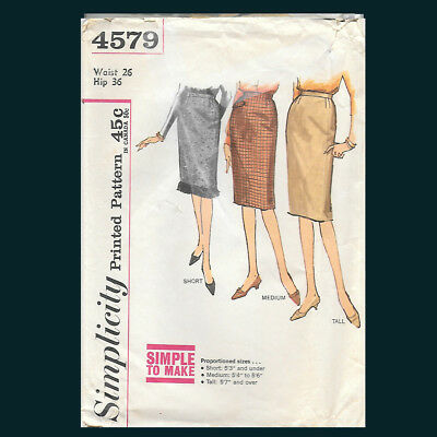 Vintage Simplicity Pattern 4579 Skirt in Proportioned Sizes Waist 26