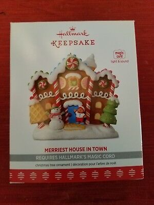 Hallmark Keepsake ornament 2017 MERRIEST HOUSE IN TOWN MAGIC CORD  LIGHT SOUND