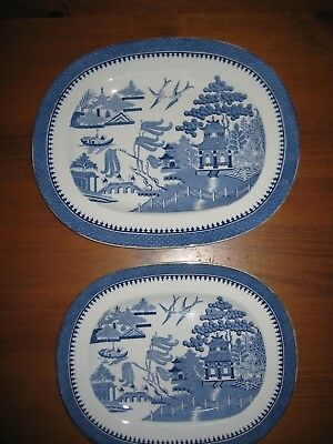 2 Antique Blue & White Platters Minton Willow For Waring & Gillow C1914