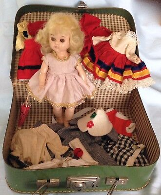"Vintage Blond 8"" 1950s Doll Molded T Strap Shoes Virga Pam Lucy + Clothes Walker"