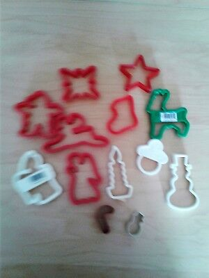 Vintage 13 Plastic and Metal Open Christmas Cookie Cutters