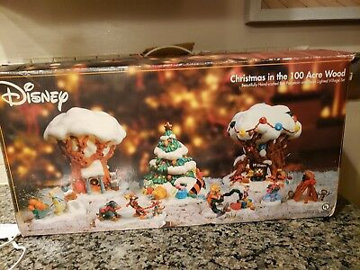 Disney Christmas in the Hundred Acre Wood, Winnie the Pooh, Lighted 8 pc set