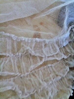 """Ethereal Antique French Tulle Ruffled Fragment 5"""" By 9"""" Softest Blue Lavender"""