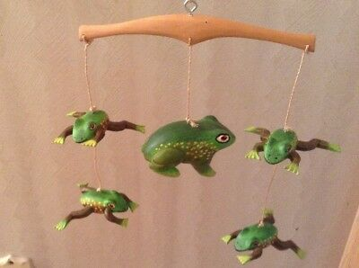 5 Cute Green Frog Or Toad Figurine Mobile Wind Chime Indoor Or Outdoor Decor