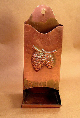 Vintage Solid Hammered Copper Wall Match Holder Pine Cone Decoration