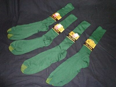 FOUR Pairs NWT Vintage Men's GOLD TOE Green Nylon Mid Calf Dress Socks 10 - 13