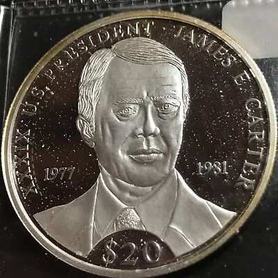 2000 Liberia $20 Jimmy Carter Proof Brilliant Uncirculated Crown Coin