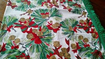 Vintage Christmas Tablecloth Fringe Pine Cones Red Green Rectangle Cotton 54x74