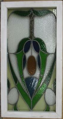 "MID SIZE OLD ENGLISH LEAD STAINED GLASS WINDOW Gorgeous Abstract 18.25"" x 34.25"""