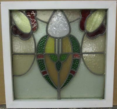 "OLD ENGLISH LEADED STAINED GLASS WINDOW Awesome Abstract Design 20.5"" x 19.75"""