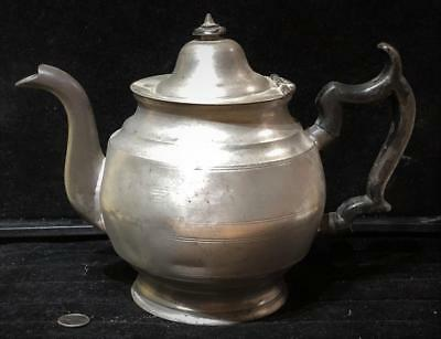 Antique American Pewter Teapot, Repaired,  c. 1835