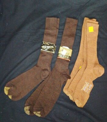 TWO Pairs BROWN Vintage Men's GOLD TOE Windsor 720 Brown Dress SOCKS + BONUS