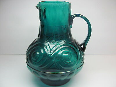 Fabulous Blue Vintage Italian Pitcher Hand Blown Glass Amazing Vintage Aqua