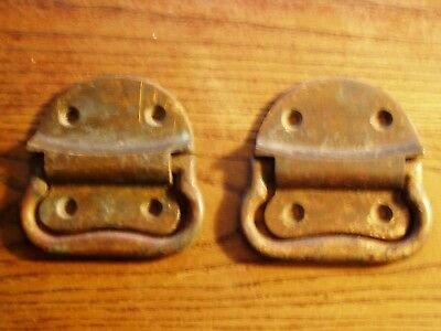 2 Tool Box SOLID BRASS LARGE drop Handles Pulls old trunk