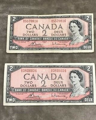 Two 1954 Bank of Canada Canadian $2 Two Dollar Bill Circulated