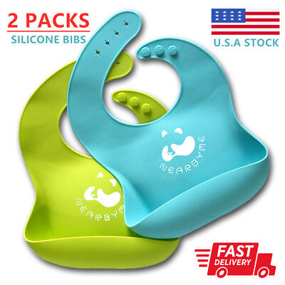 2 Waterproof Baby Silicone Bibs Feeding bib Kids Roll up Food Catcher Pocket USA