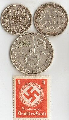 -*WWI and *WWII - silver  *german / BULGARIAN  coins / stamp