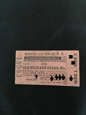 1943 stamped punched BOSTON and MAINE RAILROAD ticket pass AMAZING July 15th