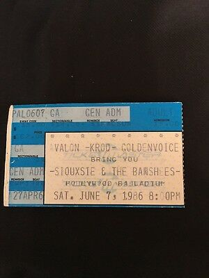 VINTAGE Siouxsie and the Banshees 1986 KROQ CONCERT TICKET stub MINT RARE