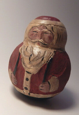Old Antique Wooden Hand Carved & Painted Roly Poly Santa Claus