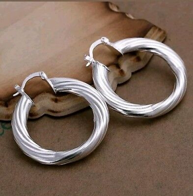 Womens 925 Sterling Silver Classic 40mm Round Vogue Hoop Pierced Earrings #C29