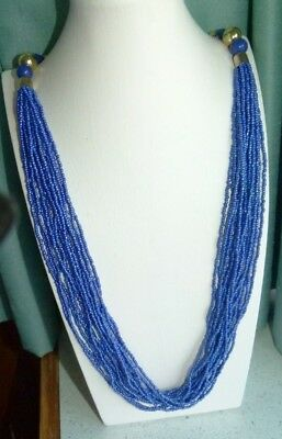 Jewellery  Very Pretty Sapphire Blue Glass Seed Bead Necklace, Silver Tone 856