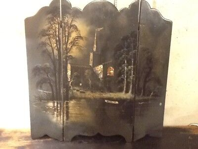 OLD VINTAGE ANTIQUE VICTORIAN TABLE FIREPLACE SUMMER SCREEN HAND PAINTED 24 x 24
