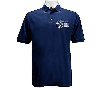 Old vintage retro photo camera navy blue polo style buttoned up collared t-shirt