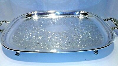Wm. A Rogers Silverplate Mint Condition Footed Serving  Tray Made in Canada.
