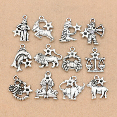 12pcs Antique Silver Zodiac Constellation Charm for Jewelry Making Bracelet DIY