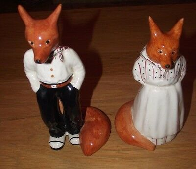 rare pair of fox figures from garden house pottery longport staffordshire vgc