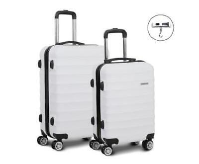 2 Piece 4 Wheels ABS Hard Case Shell TSA Lock Suitcase Luggage Travel Set White
