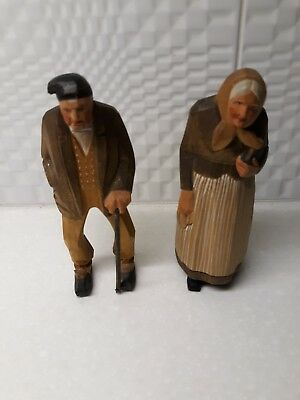 Vintage Hand Carved Wood Couple Bible & Walking Stick