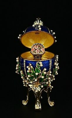 St Petersburg Russian Faberge Egg: Lilies of the Valley, with Music, 4.7""