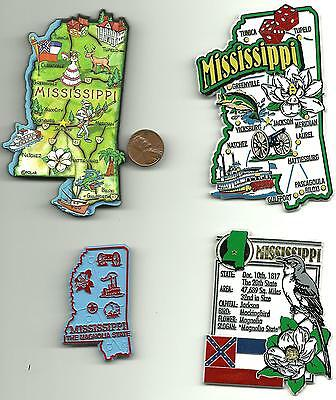 MISSISSIPPI  MAGNET ASSORTMENT 4 NEW  STATE SOUVENIRS includes  ARTWOOD MAP