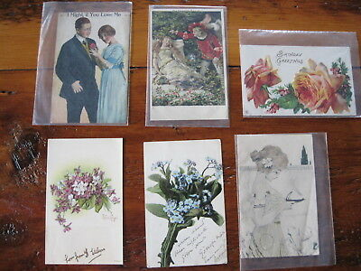 Lot of 6 Vintage Early Color Postcards one 1907 Plymouth MA postmark