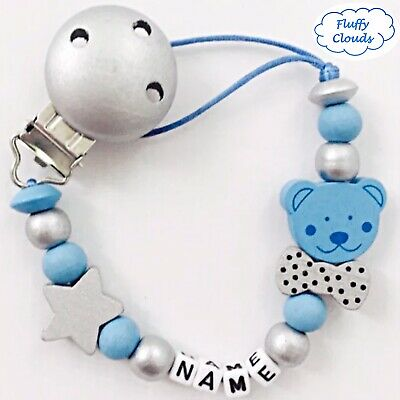 Personalized Dummy Clip Wooden Bead Pacifier Holder ~ Baby Boys ~ Fluffy Clouds