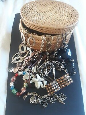 Job Lot Of Vintage And Modern Jewellery With Basket