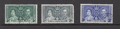 TURKS&CAICOS ISLANDS GV1 1937 CORONATION STAMPS USED  .Rfno.C150.
